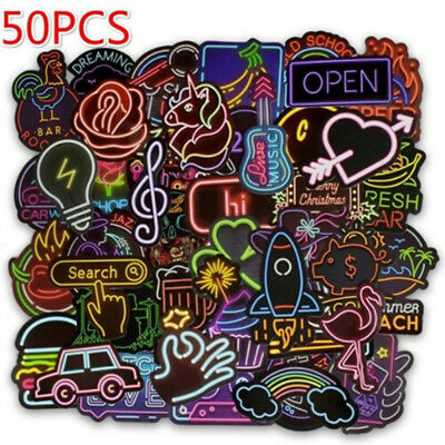 50Pcs neon light style cute stickers for suitcase laptop guitar cool doodle new.