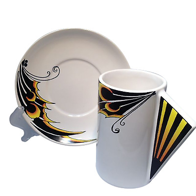 Art Deco Inspired Butterfly-Wing Design Espresso Cups/Saucers x 2