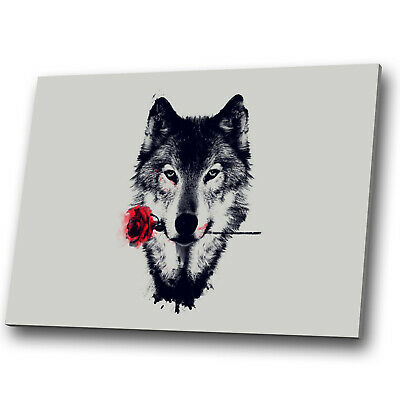 Animal Canvas Print Framed Kitchen Wall Art Small Picture Wolf Red Rose Abstract
