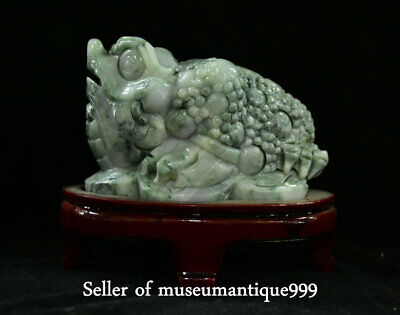 "7.2"" Chinese emerald jadeite Jade Carved golden toad Wealth Lucky Animal Statue"