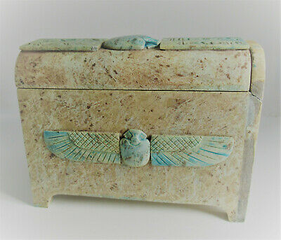 Beautiful Ancient Egyptian Sarcophagus With Faience Scarabs And Heiroglyphs