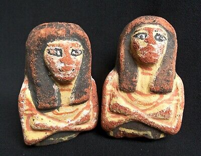 Upper Parts Of 2 Ancient Egyptian Terracotta Shabti S / Ushabti S