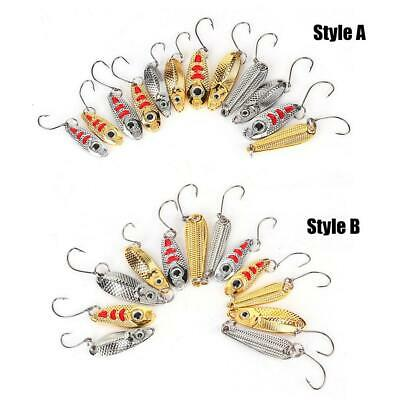 12PCS 1.5g/2.5g/3.5g Metal Fishing Lure Sequins Spinner Spoon Baits Hook Tackle