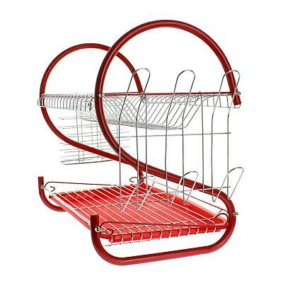 2 Tier Dish Drainer Dryer Rack Wire Metal Glass Utensil Holder Drip Tray Kitchen