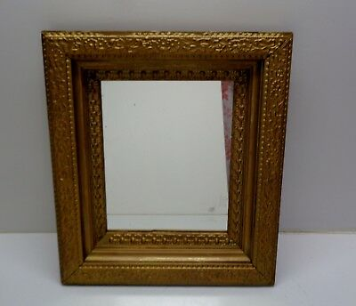 """Vintage Wall Mirror Ornate Gold Colored Wood Framed 15.25"""" x 13.25"""""""