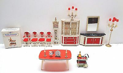 Vintage 1964 Ideal Petite Princess DINING ROOM CHAIRS CLOCK TABLE TEA CART MORE
