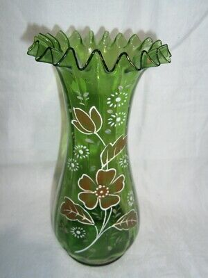 Antique Green Glass Vase With Frilled Top & Hand Painted Embossed Floral Design.
