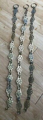 3 Antique Arts & Crafts Brass Chains For Pendant Lamps Or Plafonnier.