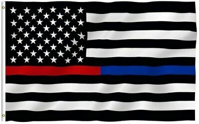 American Blue Red Thin Line Flag 3x5 Honoring Law Enforcement Police Firefighter