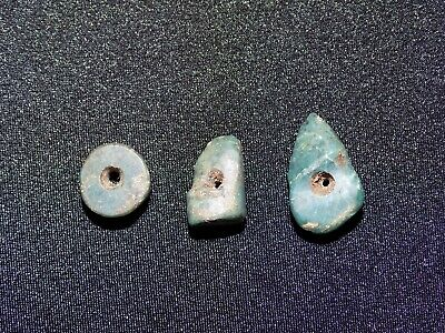 Pre-Columbian Blue and Green Jade Beads, Set of 3, Authentic