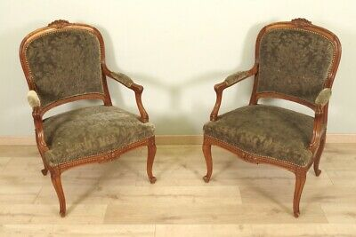 Paire de fauteuils 1900 style Transition noyer velours