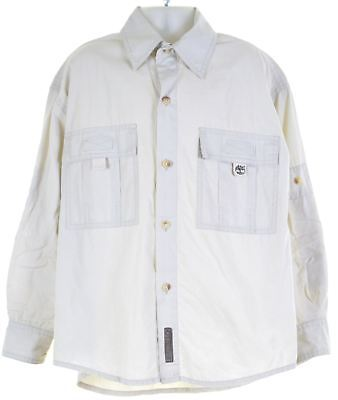 TIMBERLAND Boys Shirt 7-8 Years Beige Cotton Loose Fit  GY11