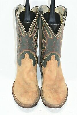 8a09f60e125 ANDERSON BEAN MENS 10.5 D Green Tan Leather Round Toe Classic Cowboy Boots