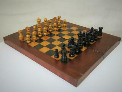 ANTIQUE CHESS SET  JAQUES  PATTERN  K 78 mm  AND NICE CHESS BACKGAMMON BOARD