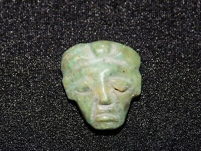 Authentic Pre-Columbian Carved Jade Face Bead, Very Rare, Nicoya Costa Rica