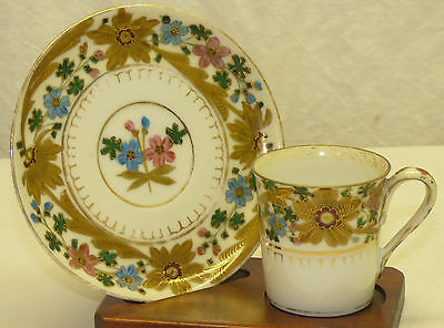 Demitasse Cup & Saucer Set Painted Floral Gold Royal Vienna Josef Riedl Beehive