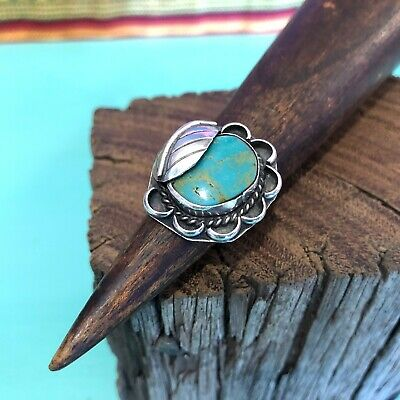 Native American Vintage Sterling Silver Turquoise Flower Leaf Ring Size 6