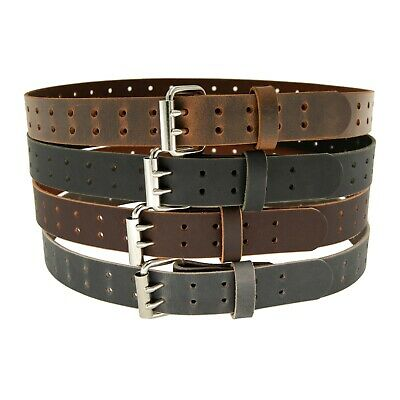 """Buffalo Leather Belt, Double Prong_2 Hole_1 1/2"""" width 1.5""""_Made in USA by Amish"""