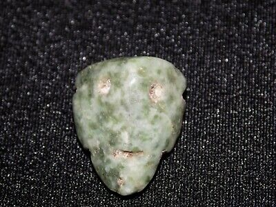 Pre-Columbian Carved Pendant Bead, Green Jade, Carved Face Bead