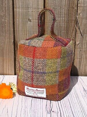 Orange Check Harris Tweed Doorstop, Handmade Tweed Door Stop, Fabric Doorstop