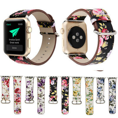For Apple Watch Series 3/2/1 Floral Leather Buckle Band 38mm/42mm iWatch Strap