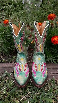 352f772523b KIDS YOUTH CORRAL Embroidered Leather Cowboy Western Boots 4 ...