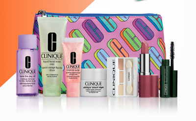 Clinique Skin & Makeup 8-piece Set with Cosmetic Bag 100% Genuine $157 Value