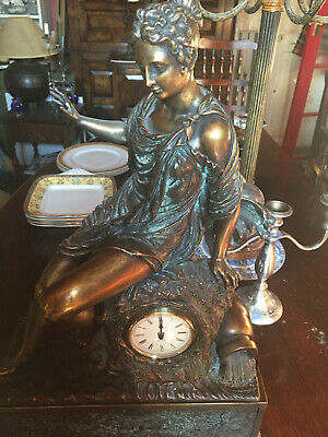 Large Bronze Mantle Clock Made By Paor Spain
