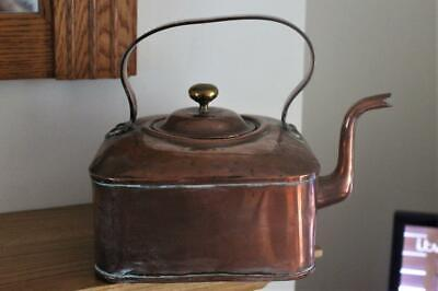 Antique Farmhouse Goose Neck Square Shaped Copper Kettle With Planished Top