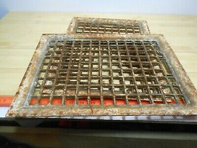 LOT of 2: VINTAGE CAST IRON FLOOR GRATE HEAT REGISTERS.