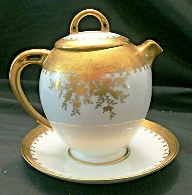 Unique H C Royal Marked Individual Tea Pot with Attached Under plate & Lid...