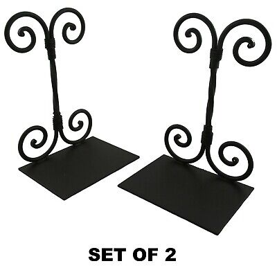 Decorative Twirled Scroll Bookends (2) Vintage Antique Style Wrought Iron Metal