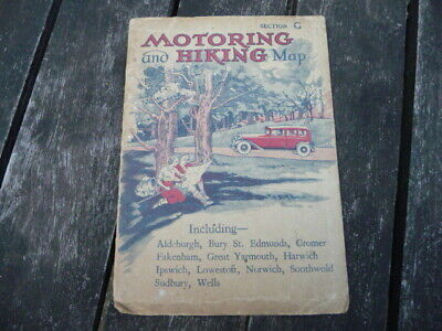 Vintage Car : Motoring and Hiking Map : Section G - Folding Road Atlas England