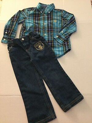 Boy's Jeans Beverly Hills Polo Club & Chaps Long Sleeve Plaid Shirt Size 3T