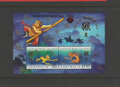 2004 Christmas Island Year of the Monkey M/S opt'd HONG KONG EXPO 2004