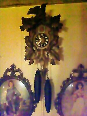 German Black Forest  Linden Wood  8 Day Cuckoo Clock . Free priority shipping.