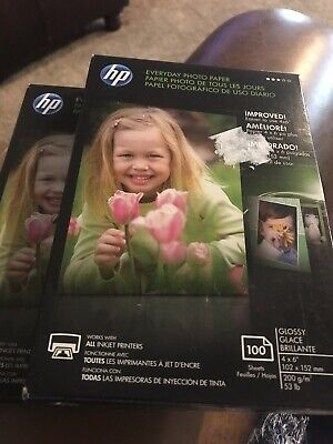 """NEW & SEALED HP EVERYDAY PHOTO PAPER 100 GLOSSY SHEETS 4""""x6"""". 2 Boxes Cr759a"""