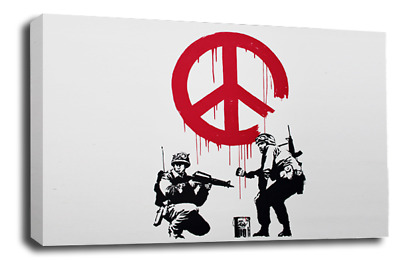 BANKSY TURQUOISE BALLOON GREY CANVAS WALL ART ABSTRACT PICTURE 77x52cm 3cm frame