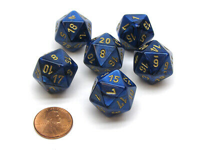 Scarab 20 Sided D20 Chessex Dice, 6 Pieces - Royal Blue with Gold Numbers
