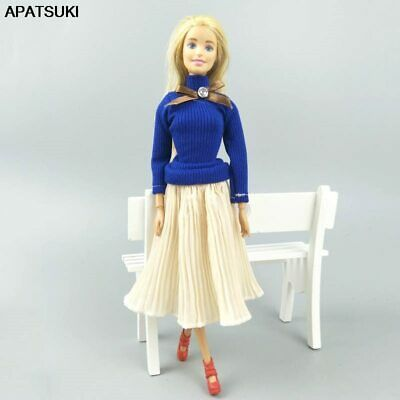 "Fashion Doll Clothes For 11.5"" Dolls Royal Blue Top Blouses & Pleated Midi Skirt"
