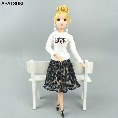 "Fashion Doll Clothes For 11.5"" 1/6 Doll White Blouses Leopard Pleated Midi Skirt"