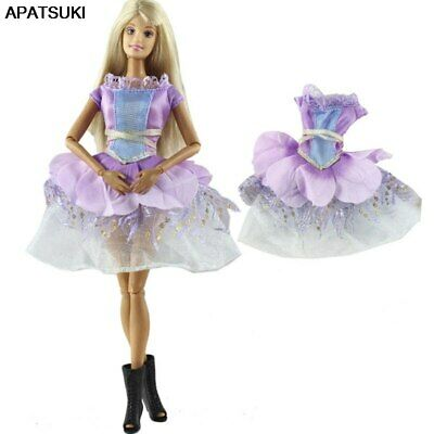 "Purple Short Party Dress For 11.5"" Doll Outfits Gown 1/6 Doll Clothes Kid Toy"