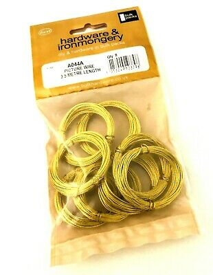 PACK OF 8 BRASS PICTURE FRAME WIRE. 3.5 m each LENGTHS TO HANG PICTURES