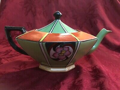 Art Deco Octagon Teapot Geen Orange Black Luster Base