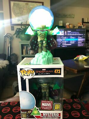 Marvel NEW FLAWLESS Spiderman Light Up Mysterio Funko Pop 473 protector ship TMR