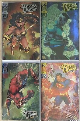 Justice League #4 6 7 9 Jim Lee Comic-Con Foil Variants Lot SDCC and NYCC