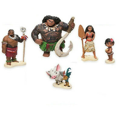 Exquisite 6 Sets Of Moana Action PVC ToyS Cake Hats And Decorative Gift NEW
