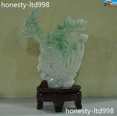 Chinese Natural Emerald Jade Jadeite carved Lotus Fish Auspicious Fortune Statue