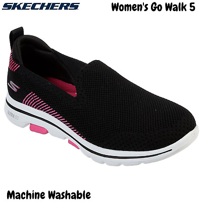 Skechers Women's Go Walk 5 Slip On Machine Washable Sneakers Shoes - Black/Pink