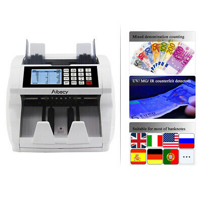 Aibecy Multi-Currency Counter Counting Machine LCD UV MG IR Counterfeit Detector
